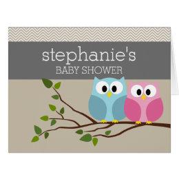 Cute Owl on Branch Baby Girl or Boy Shower Card