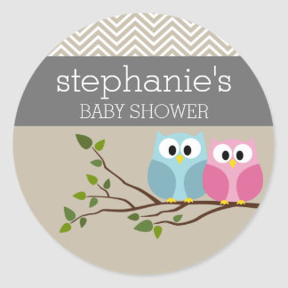 Cute Owl on Branch Baby Girl or Boy Shower Classic Round Sticker