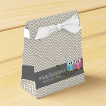 Cute Owl on Branch Baby Girl or Boy Shower Favor Box