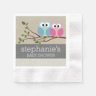 Cute Owl on Branch Baby Girl or Boy Shower Napkin