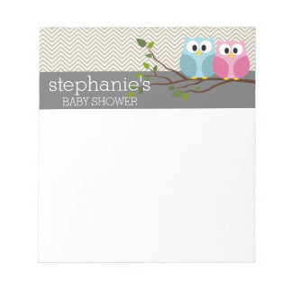Cute Owl on Branch Baby Girl or Boy Shower Note Pad
