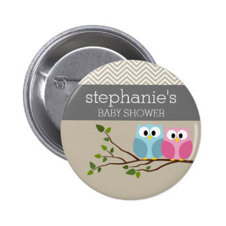 Cute Owl on Branch Baby Girl or Boy Shower Pinback Button