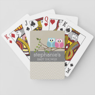 Cute Owl on Branch Baby Girl or Boy Shower Playing Cards