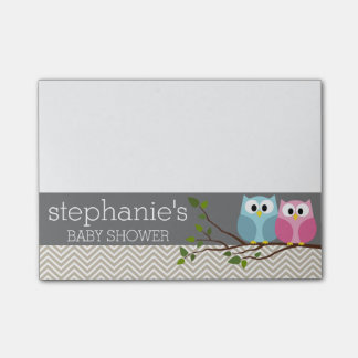 Cute Owl on Branch Baby Girl or Boy Shower Post-it® Notes