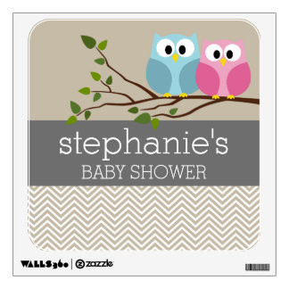 Cute Owl on Branch Baby Girl or Boy Shower Room Graphics