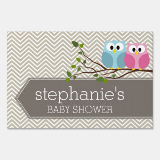 Cute Owl on Branch Baby Girl or Boy Shower Sign