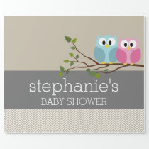 Cute Owl on Branch Baby Girl or Boy Shower Wrapping Paper