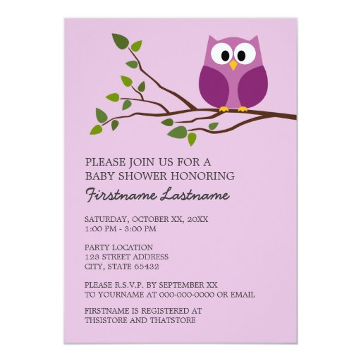 Cute Owl on Branch Baby Girl Shower 5x7 Paper Invitation Card