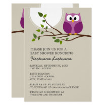 Cute Owl on Branch Baby Girl Shower Card