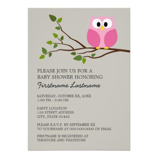 Cute Owl on Branch Baby Girl Shower Custom Invite