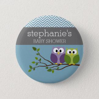 Cute Owl on Branch - Blue Baby Boy Shower Button
