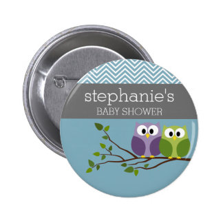 Cute Owl on Branch - Blue Baby Boy Shower Pinback Buttons