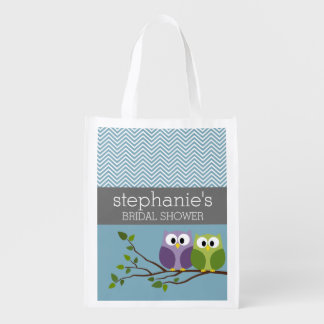 Cute Owl on Branch - Blue Baby Boy Shower Reusable Grocery Bag