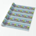 Cute Owl on Branch - Blue Baby Boy Shower Wrapping Paper
