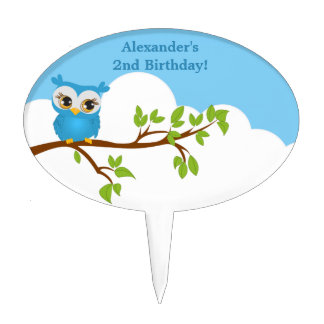 Cute Owl on Branch Boy Birthday Cake Topper