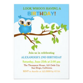 Cute Owl on Branch Boy Birthday Party Invitations