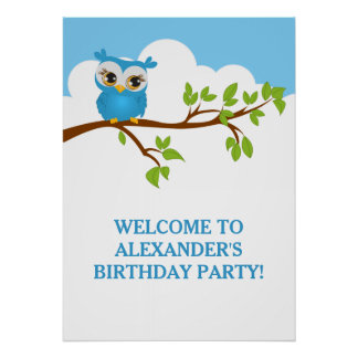 Cute Owl on Branch Boy Birthday Party Poster