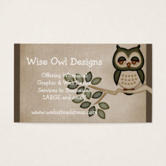 Cute Owl on Branch Business Card Design