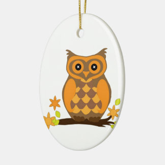Cute Owl On Branch Ceramic Ornament