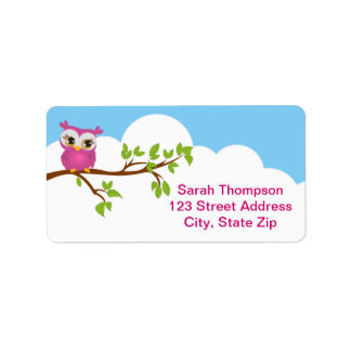 Cute Owl on Branch Girl Address Label Personalized Address Label