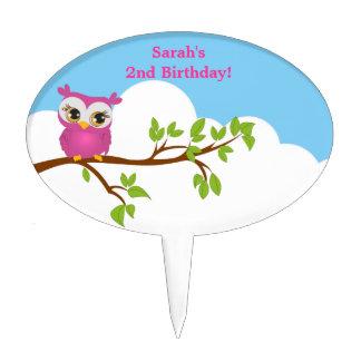 Cute Owl on Branch Girl Birthday Cake Topper