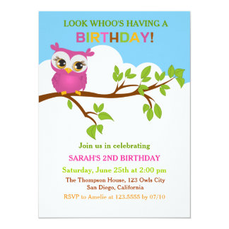 Cute Owl on Branch Girl Birthday Party Invitations