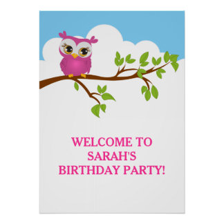 Cute Owl on Branch Girl Birthday Party Poster