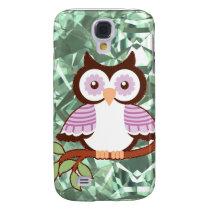 Cute Owl On Branch Green Diamond Cut Samsung S4 Case