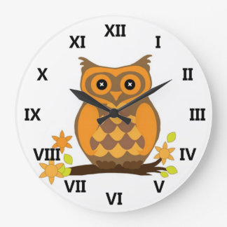 Cute Owl On Branch Large Clock