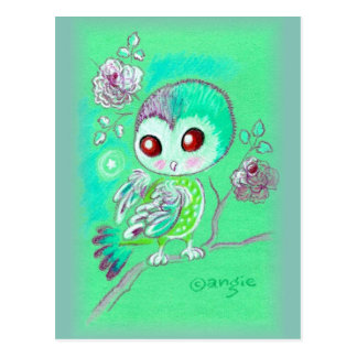 Cute Owl On Branch Of Flowers Postcard