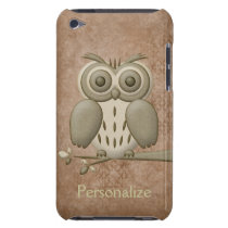 Cute Owl on Branch Personalized iPod Touch Case