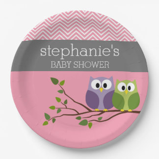 Cute Owl on Branch - Pink Baby Girl Shower Paper Plate