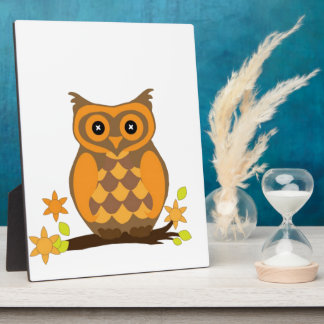 Cute Owl On Branch Plaques
