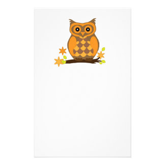 Cute Owl On Branch Stationery