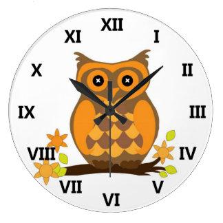 Cute Owl On Branch Wall Clock