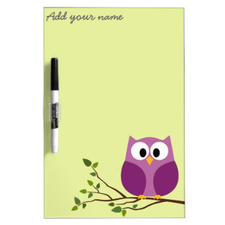 Cute Owl on Branch with Area for Name Dry Erase Whiteboards