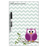 Cute Owl on Branch with Chevron Pattern and Name Dry-Erase Board
