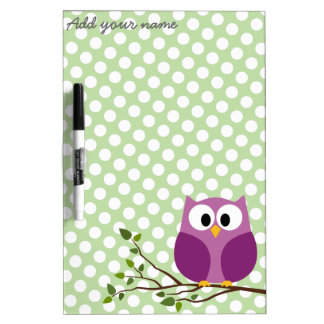 Cute Owl on Branch with Polka Dot Pattern and Name Dry-Erase Board
