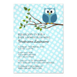 Cute Owl on Branch with polka dots Baby Boy Shower 5x7 Paper Invitation Card
