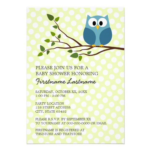 Cute Owl on Branch with polka dots Baby Boy Shower Personalized Invite