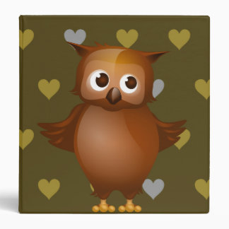 Cute Owl on Brown Heart Pattern Background Binder