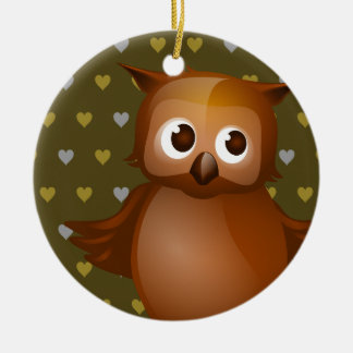 Cute Owl on Brown Heart Pattern Background Ceramic Ornament