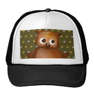 Cute Owl on Brown Heart Pattern Background Hats
