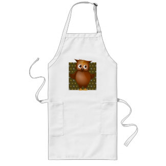Cute Owl on Brown Heart Pattern Background Long Apron