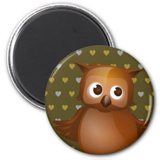 Cute Owl on Brown Heart Pattern Background Magnet