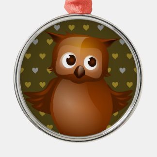 Cute Owl on Brown Heart Pattern Background Metal Ornament