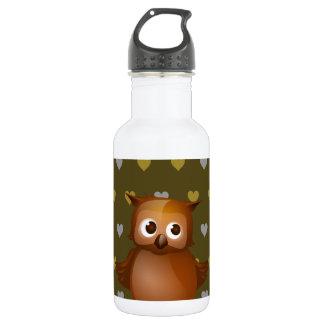 Cute Owl on Brown Heart Pattern Background 18oz Water Bottle