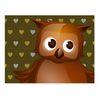Cute Owl on Brown Heart Pattern Background Postcard