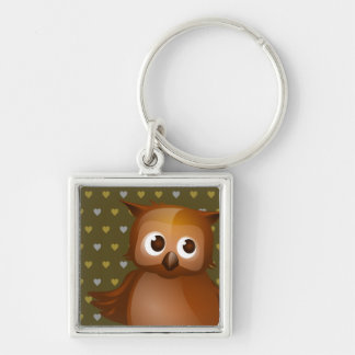Cute Owl on Brown Heart Pattern Background Silver-Colored Square Keychain