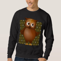 Cute Owl on Brown Heart Pattern Background Sweatshirt